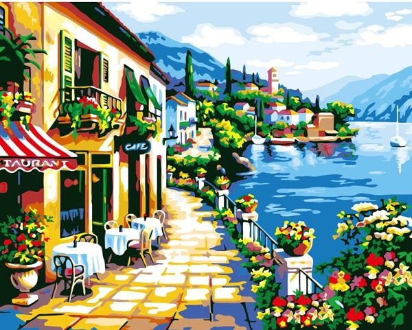 Cafe at seaside - Paint by Numbers Malaysia