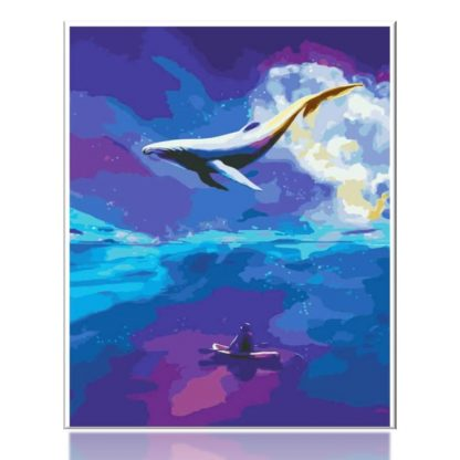 Dream Whale Blue Sea   Paint by Numbers
