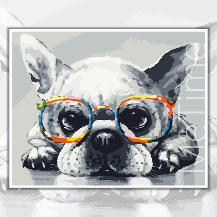 Bulldog with Glasses