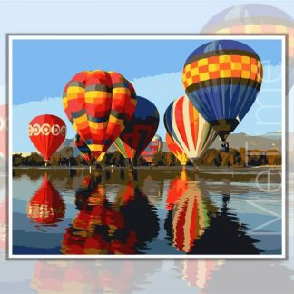 Hot Air Balloons over water